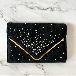 Black suede and gold bling clutch with strap 🎊Host pick🎊